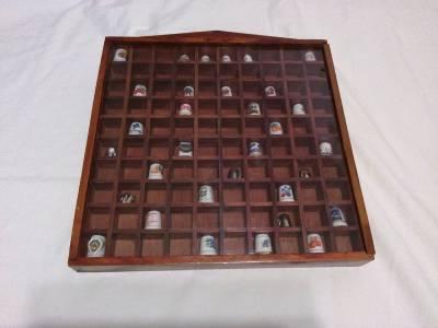 Wood Thimble Display Case For 100 Thimbles Plexiglass