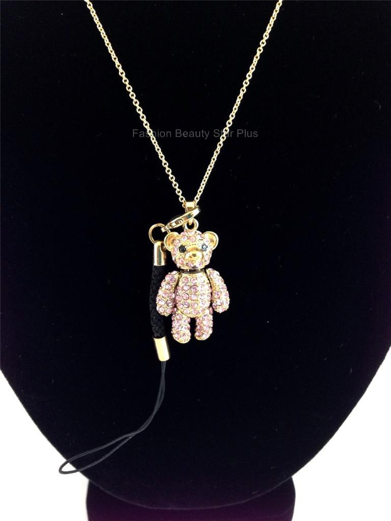 Teddy Bear Doll Dangling Crystal Pendant Necklace