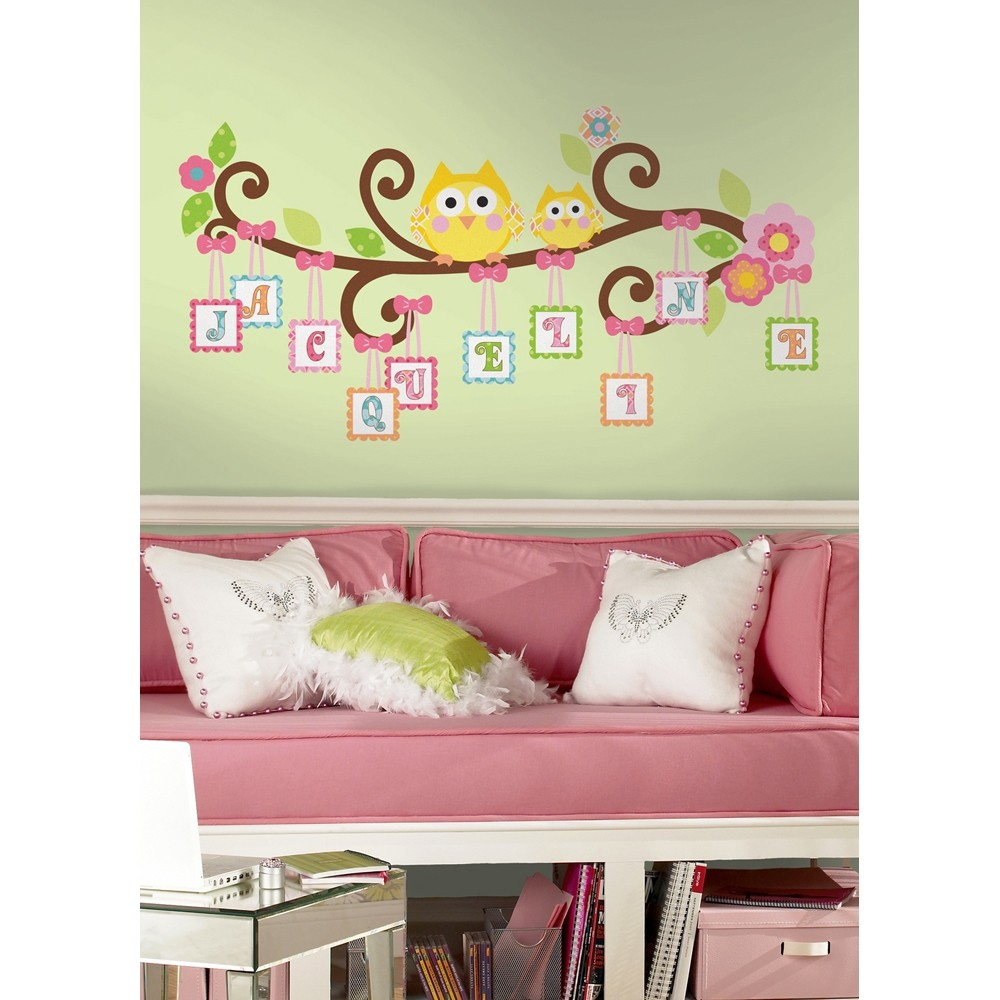 New giant scroll tree letter branch wall decals baby for Baby room decoration wall stickers