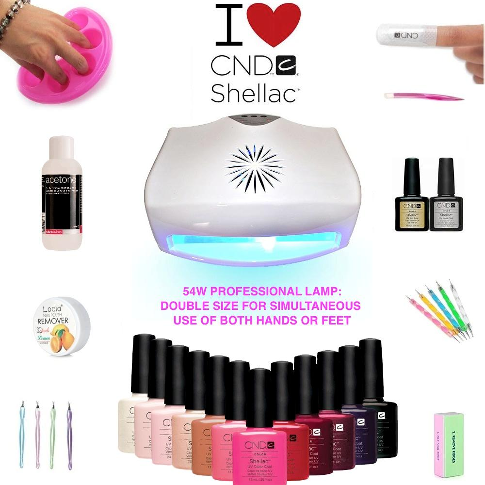 Uv Gel Nail Polish Starter Kit: *CND Shellac Gel Polish New 10 Piece Nail Starter Kit 54W