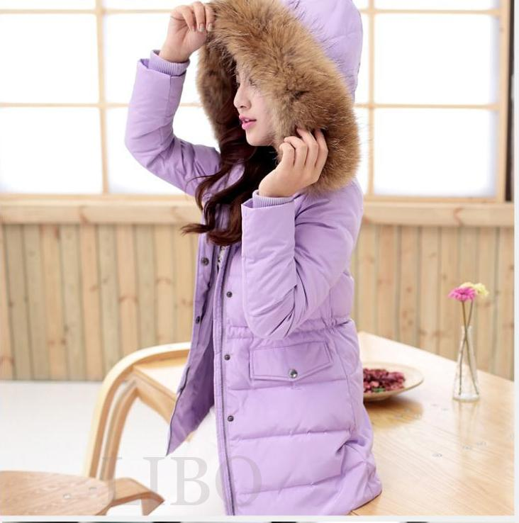 Women Winter Fur Collar Duck Down Coat Hooded Jacket Slim Long
