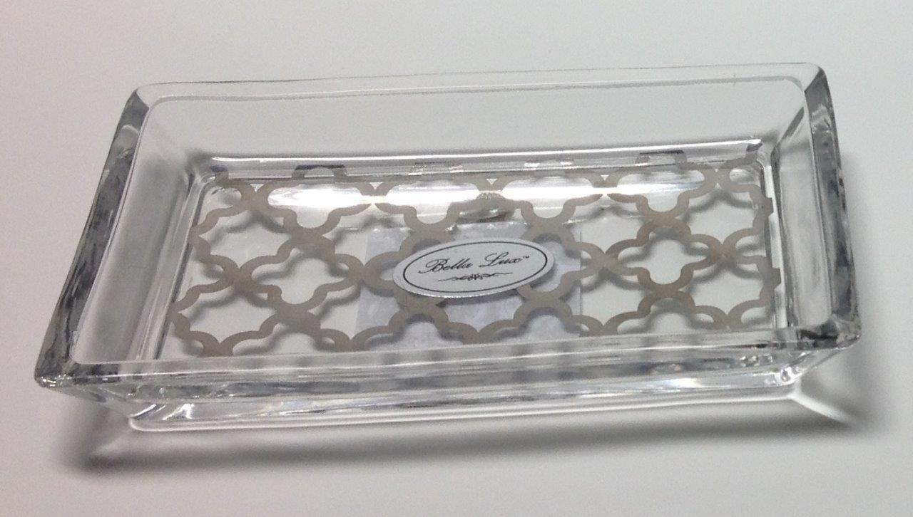Bella lux glass bath accessories soap or trinket dish 2 for Glass bath accessories