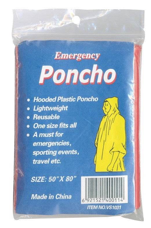 4pack Emergency Poncho/Raincoat- Red or Blue - One Size Fits All - FREE SHIPPING