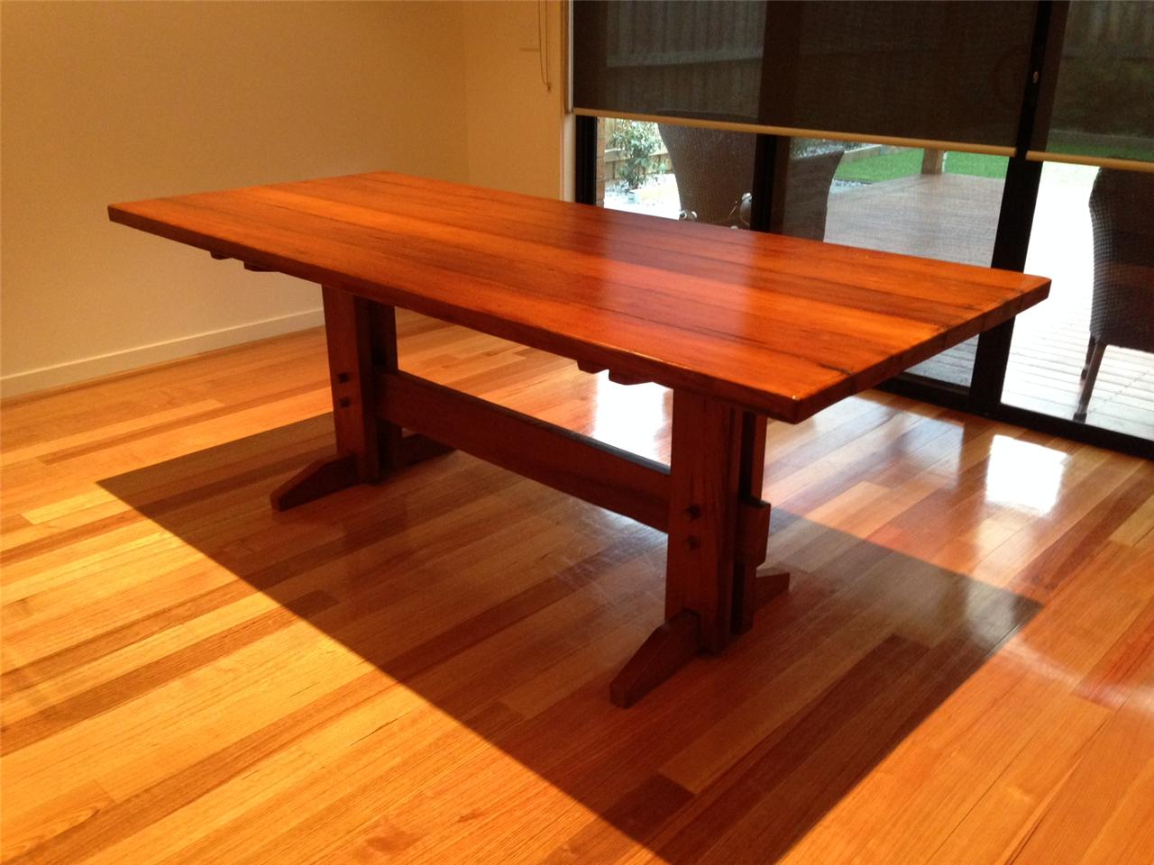 Industrial Rustic Farmhouse Refectory Style Kitchen Dining Table Kauri Pine