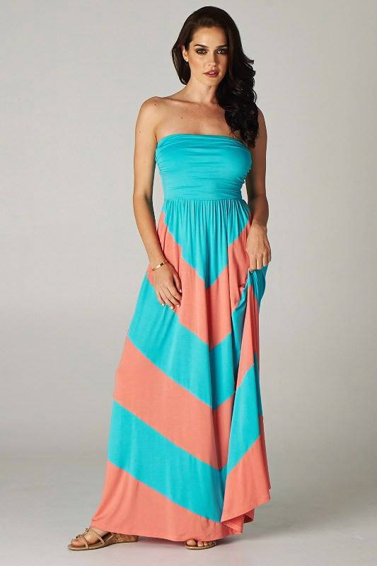 chevron empire maxi strapless colorblock dress black white