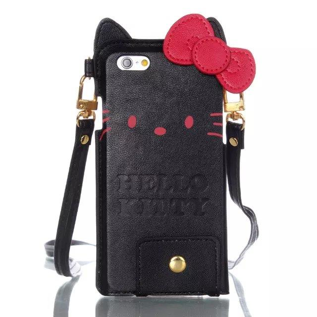 """Cartoon Hello Kitty PU Leather With  Lanyards Case Cover For 5.5"""" iPhone6 Plus"""