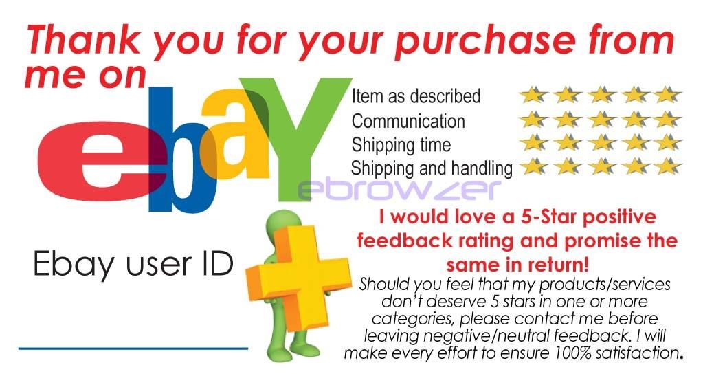 100 ebay feedback reminder dsr 5 star generic cards. Black Bedroom Furniture Sets. Home Design Ideas