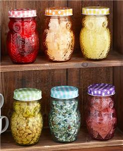 12 Pc Colorful Owl Glass Jar Set Storage Jars Country