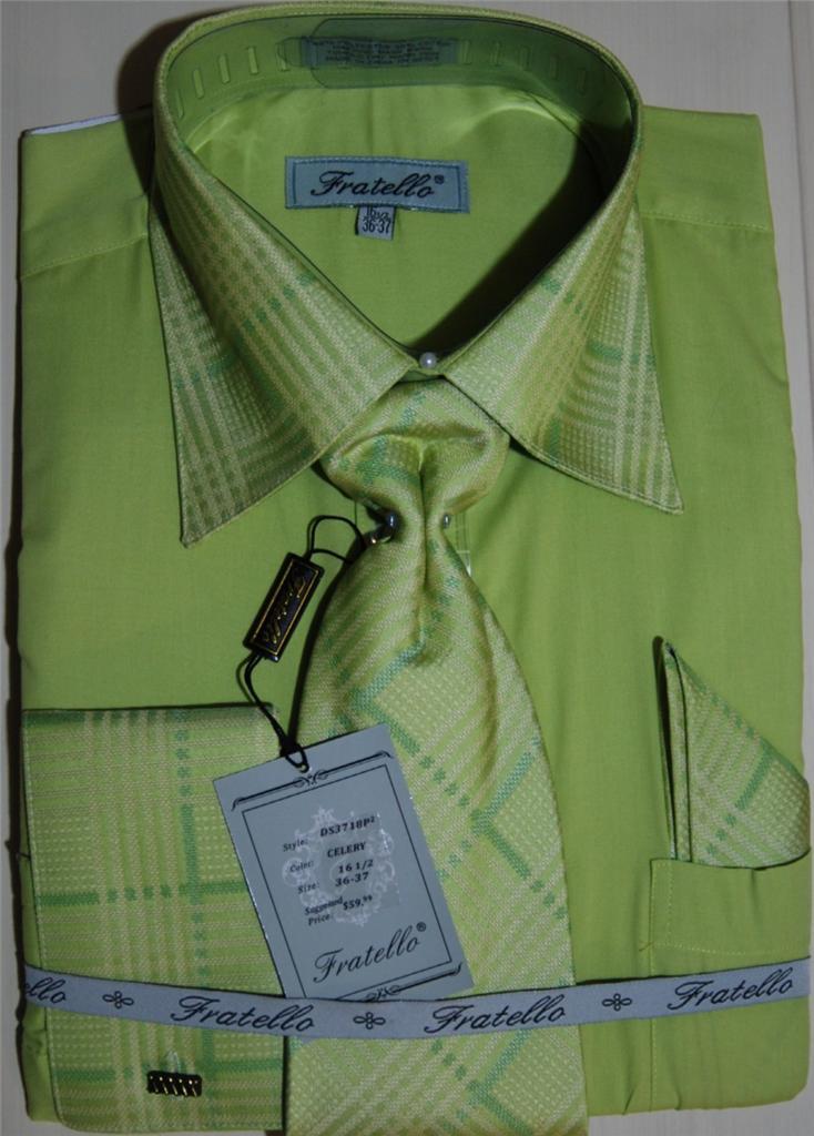 Mens Fratello Celery Cream Checked Tie French Cuff Dress
