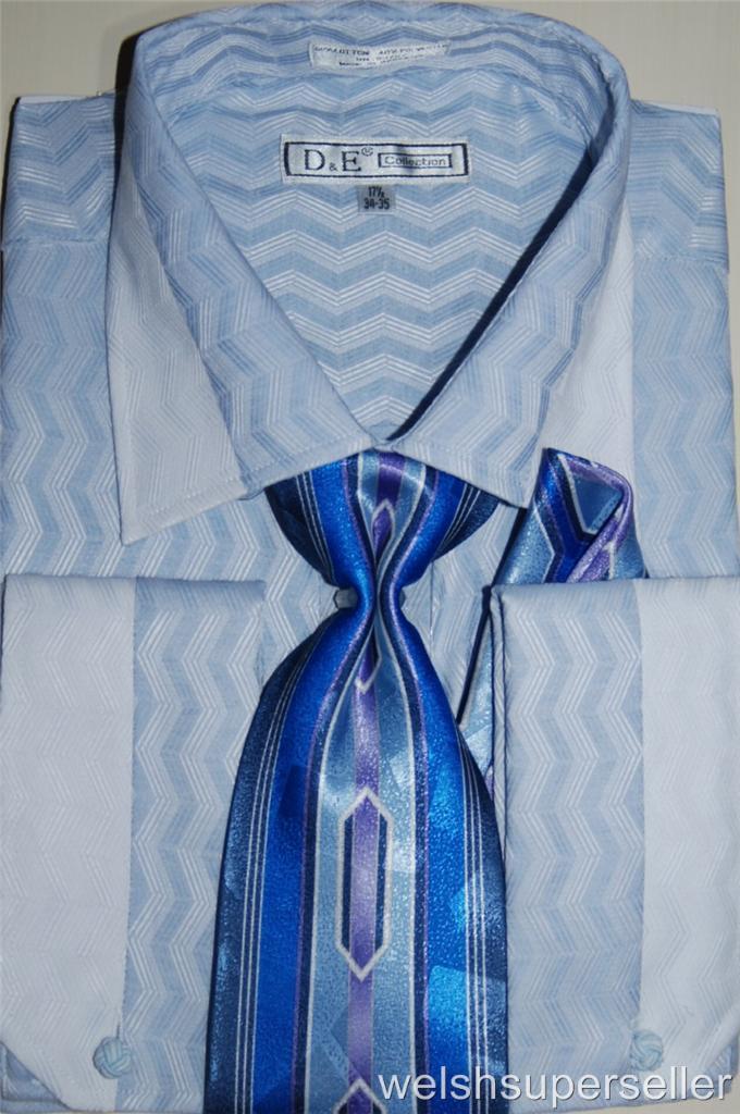 Mens daniel ellissa light blue french cuff dress shirt and for Daniel ellissa men s dress shirts