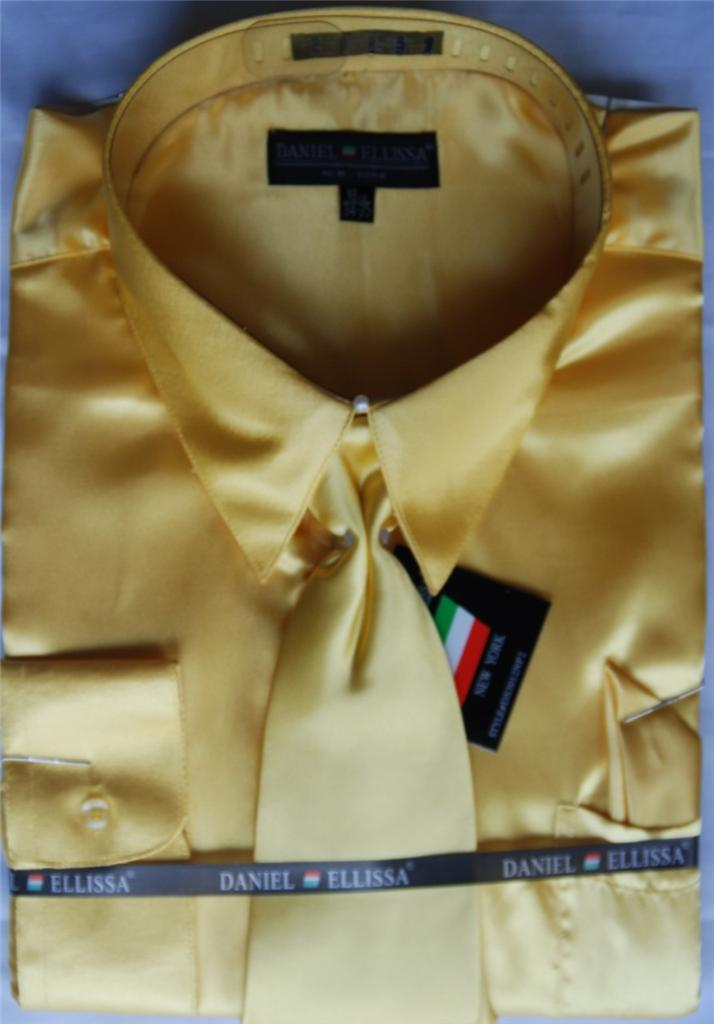 Daniel Ellissa Solid Color French Cuff Dress Shirt And Tie