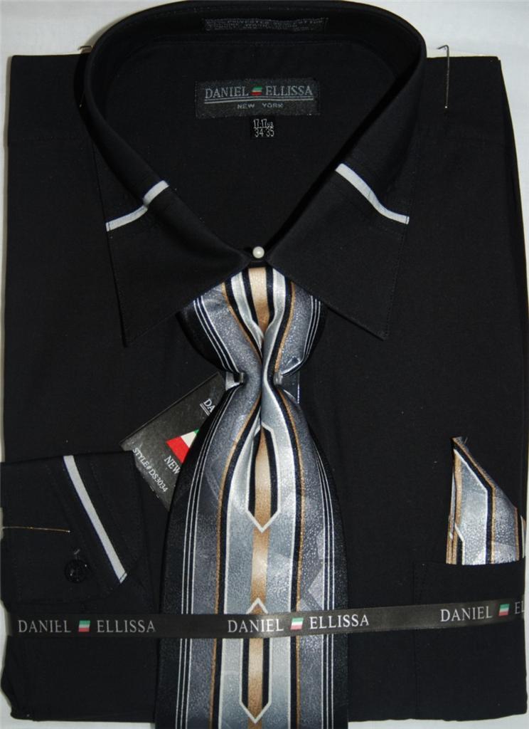 Daniel Ellissa French Cuff Dress Shirt And Tie Set Ds 3034
