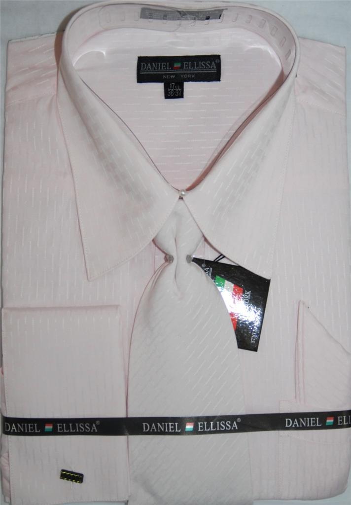 Daniel ellissa french cuff dress shirt and tie set ds 3703 for Daniel ellissa men s dress shirts