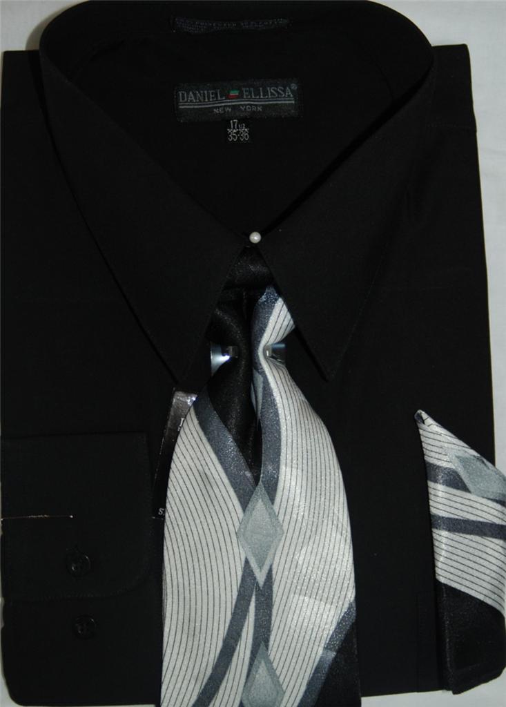 Daniel ellissa converible cuff dress shirt and tie set Daniel ellissa men s dress shirts