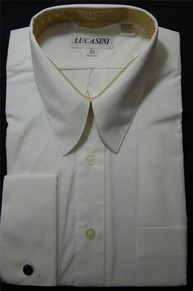 Lucasini French Cuff Point Collar Dress Shirts 1500 Series
