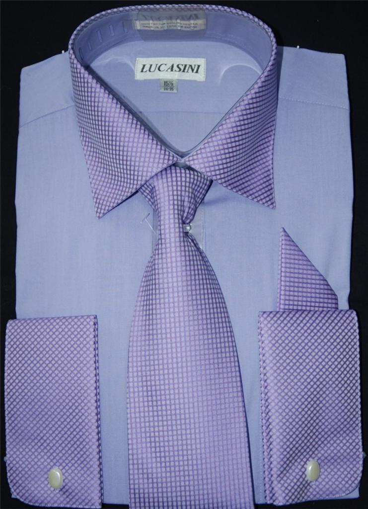 Lucasini french cuff spread collar dress shirt style for White french cuff shirt