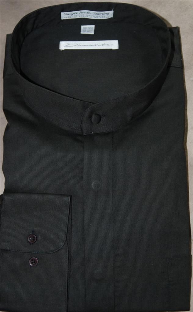 Diamante clergy banded collar regular cuff dress shirt for Single cuff dress shirt