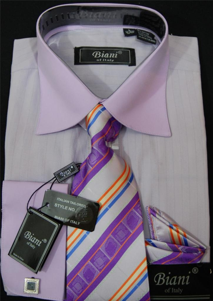 Mens Biani Italy French Cuff Dress Shirt And Fancy Tie Set