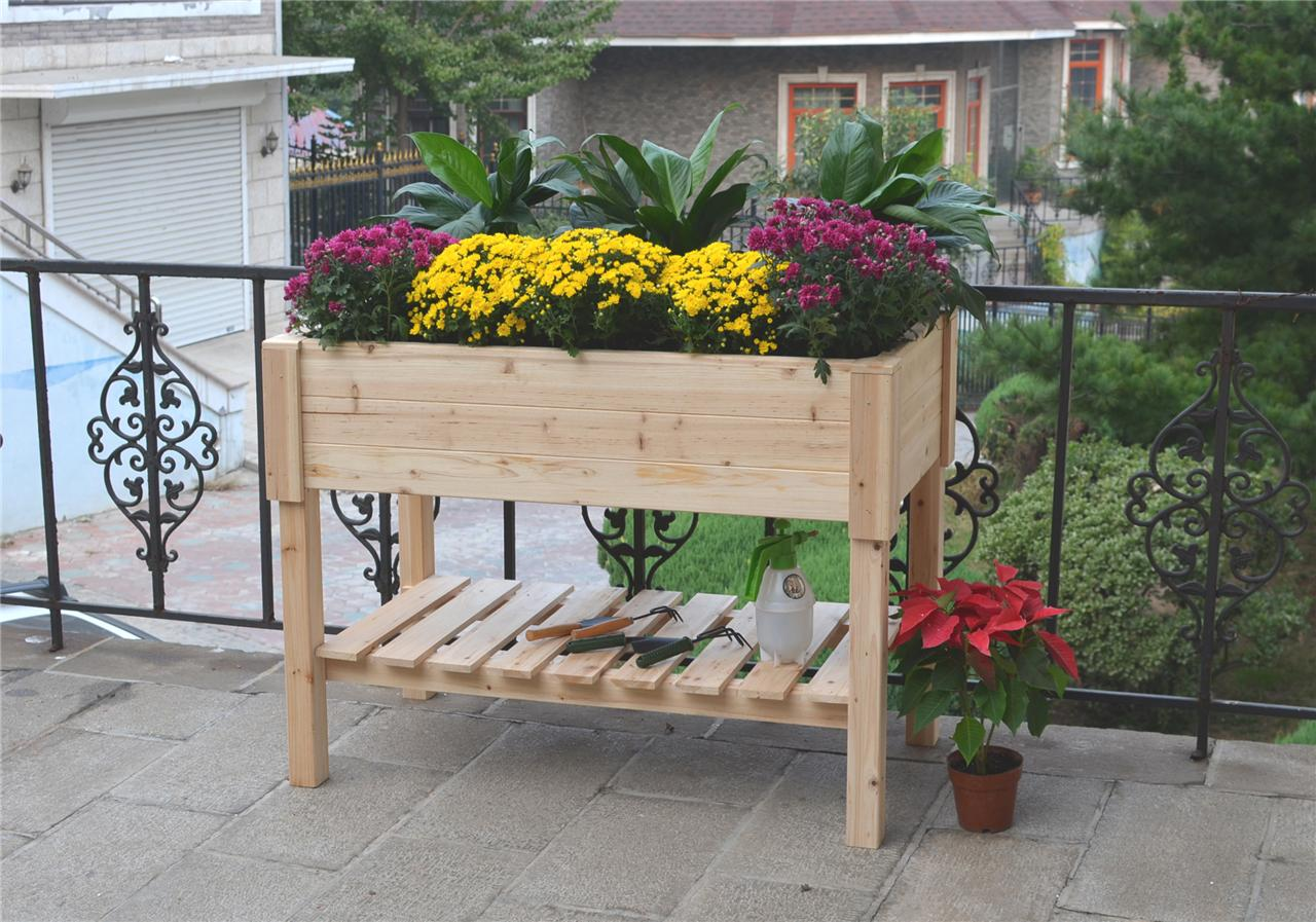 Raised timber garden bed ideal for small space grow herbs vegetables plants ebay - Herb gardens for small spaces gallery ...