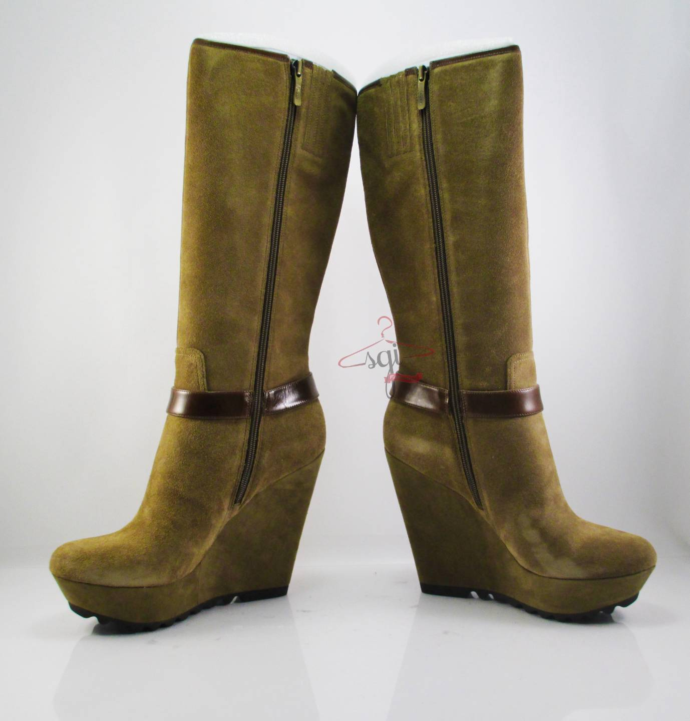 guess millana knee high wedge boots light brown suede