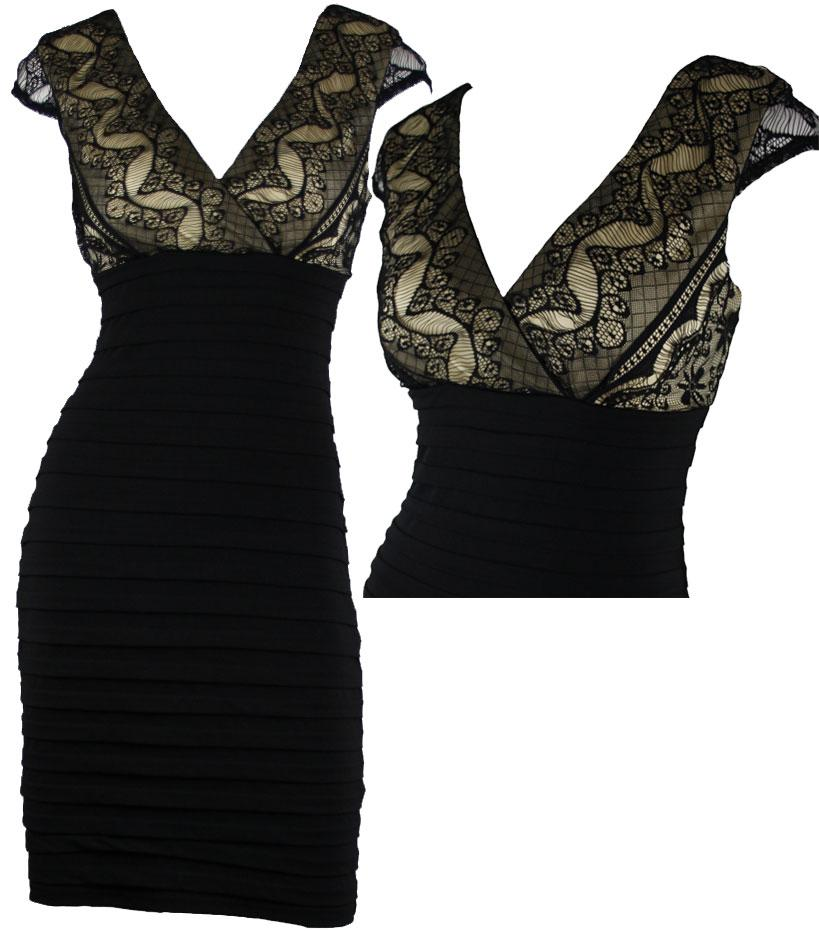 Vella NEW BLACK&TAN FRENCH LACE CONTOUR COCKTAIL DRESS Size 8 10 12 ...