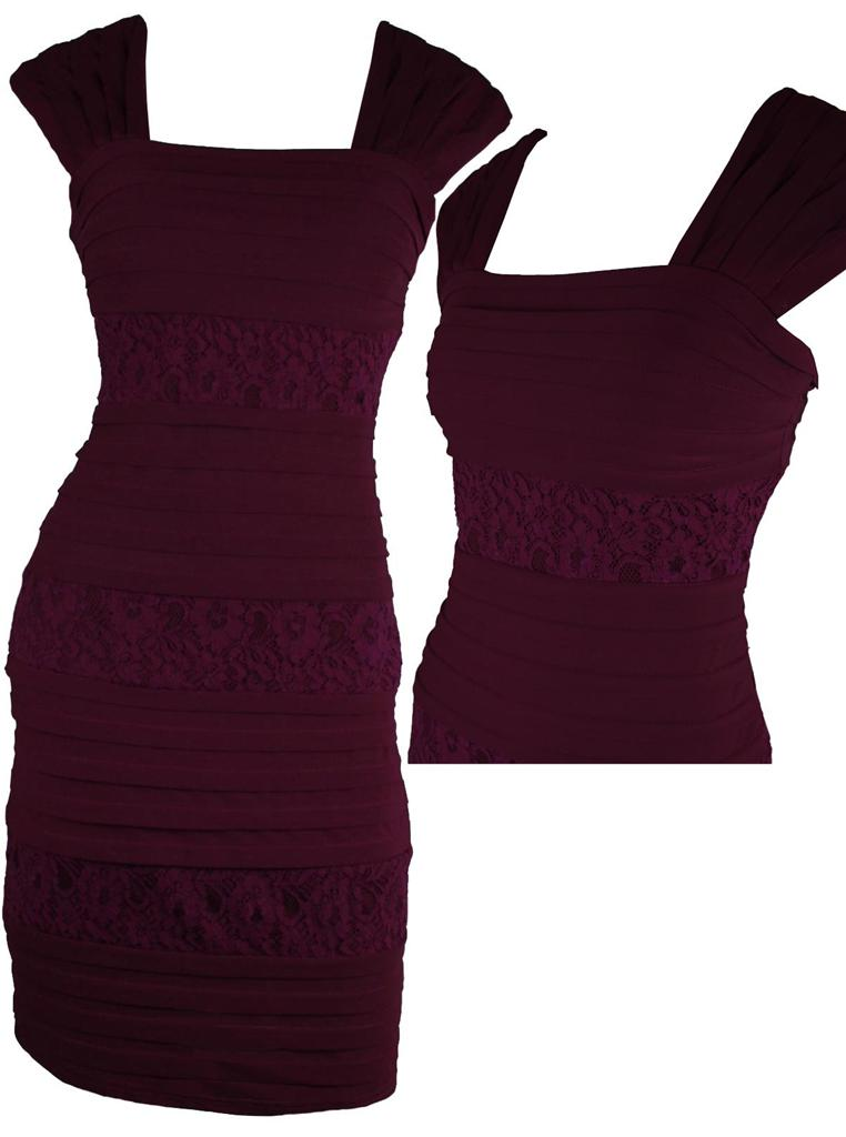 Sophia-NEW-BURGANDY-LACE-PLEATED-STRETCH-CONTOUR-DRESS-Size-8-10-12-14-16