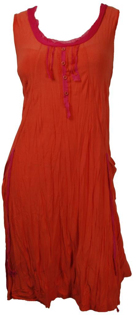Bonni-NEW-ORANGE-PINK-LAYERING-CRINKLED-TUNIC-DRESS-Size-S-10-M-12-L-14-XL-16