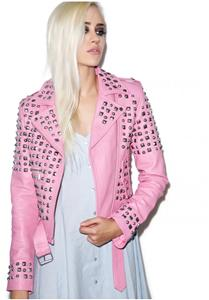 New Genuine Pink Leather Studded Motorcycle Jacket by Kill Star