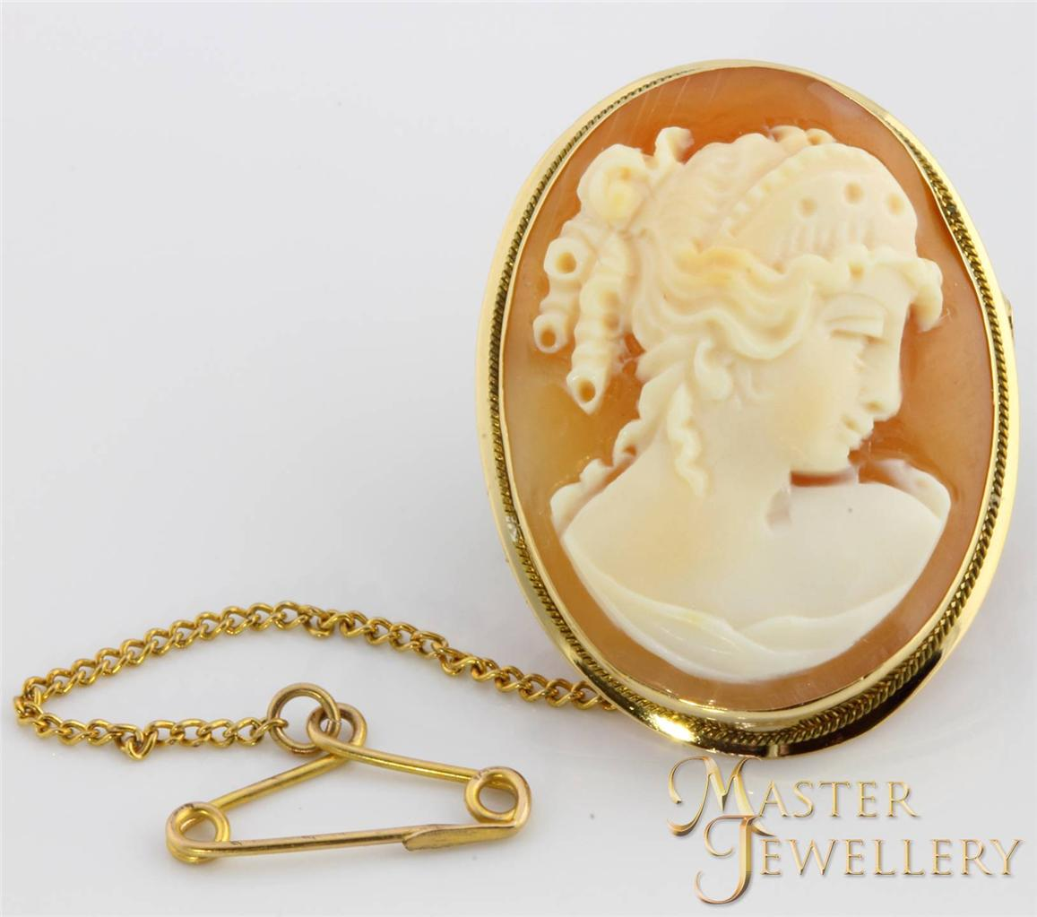 9-ct-Genuine-Solid-Yellow-Gold-Vintage-Shell-Cameo-Brooch-Pendant-Ladies-Retro