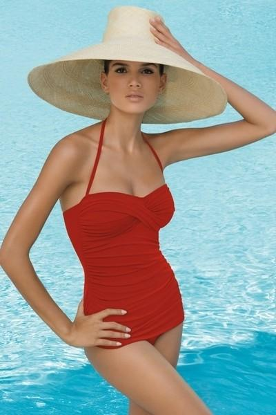 JANTZEN-SWIMSUIT-BATHING-SWIMMING-COSTUME-RED-PURPLE-PIN-UP-SUIT-CRUISE-RESORT