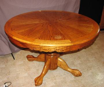 """... Furniture Oak Claw Foot Pedestal Round Dining Table 48"""" Expandable"""