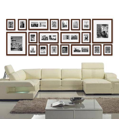 Contemporary Photo Frame 20 Piece Set Wall of Treasured Family Memories Brown