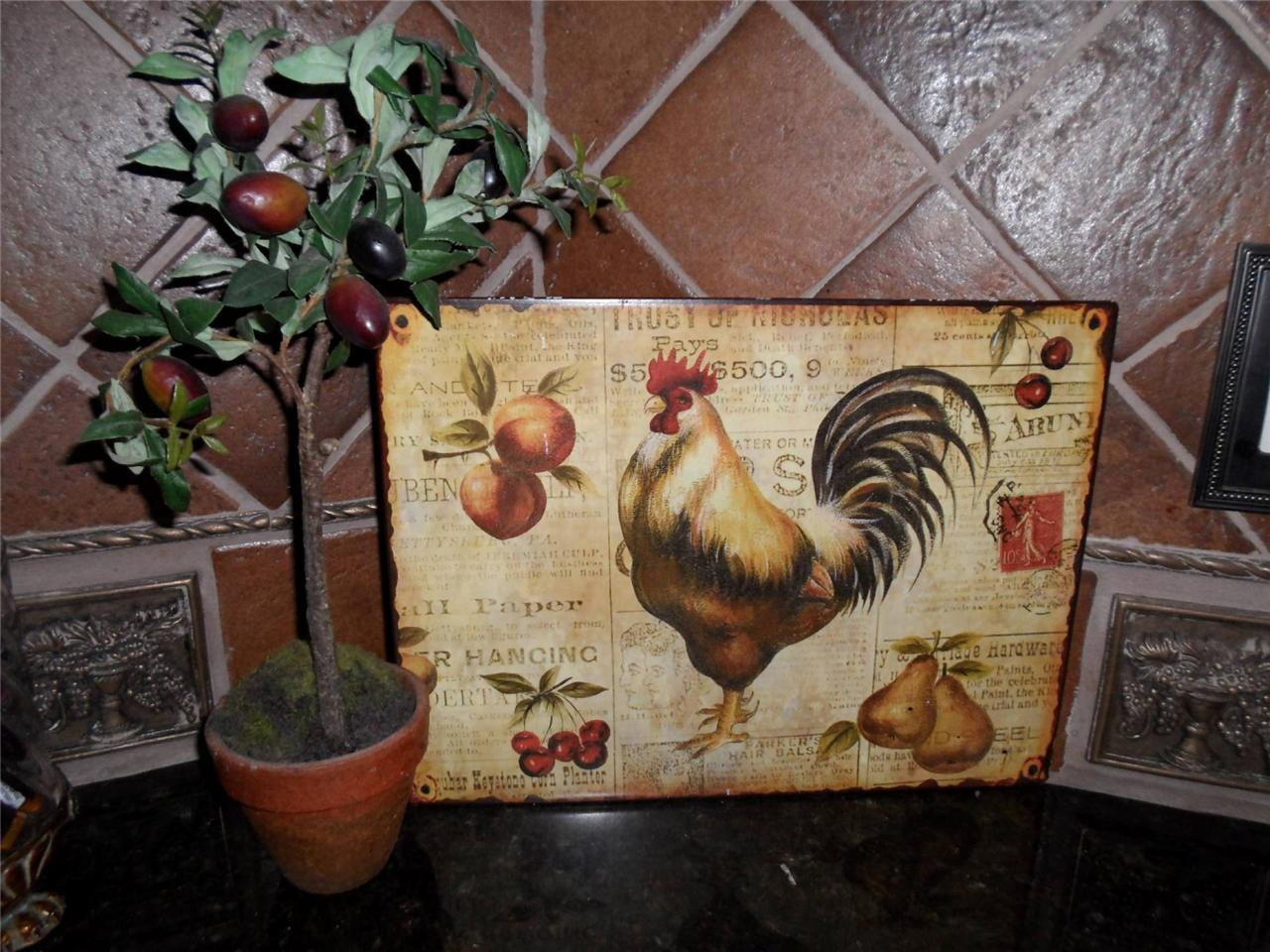 French country tuscan rooster metal sign plaque wall - Kitchen rooster decor ...