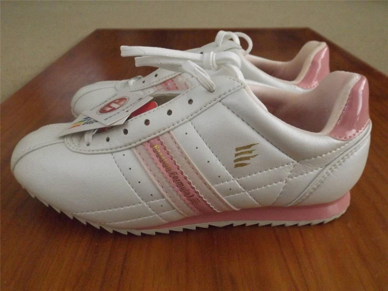 Brand-New-Benetton-formula-1-women-girls-shoes-cream-pink-lace-up-AUS-5-5