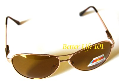Aviator POLARIZED Sunglasses GOLD Frame Amber Brown Lens ...