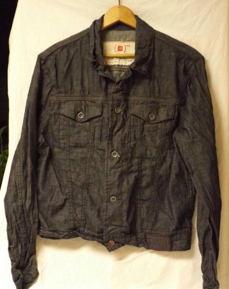 Gap red africa aids size l mens black denim button up for Jean button up shirt mens