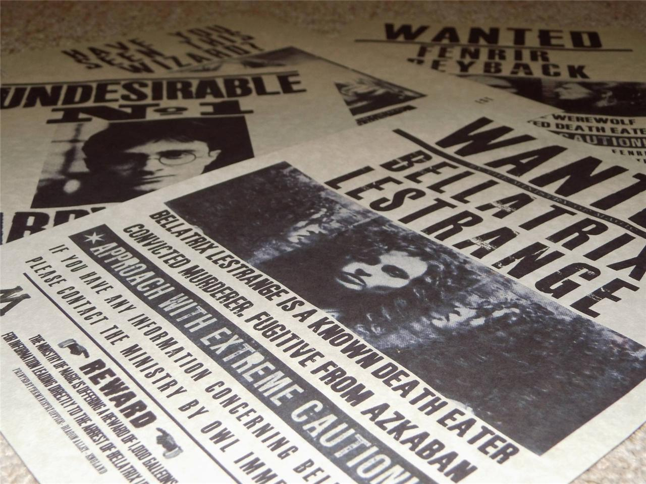 Harry Potter Hogwarts Wanted Poster Prop Replica Sirius Bellatrix Malfoy Print