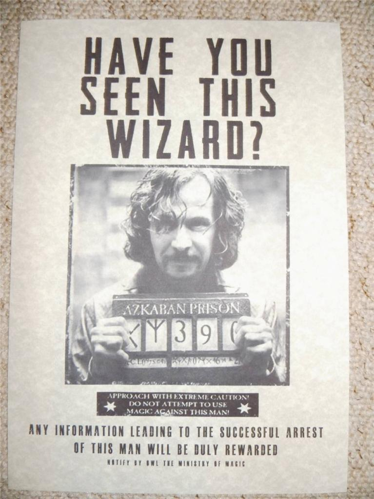 Harry Potter Hogwarts Bellatrix / Sirius / Lucious Wanted Replica Poster Prop