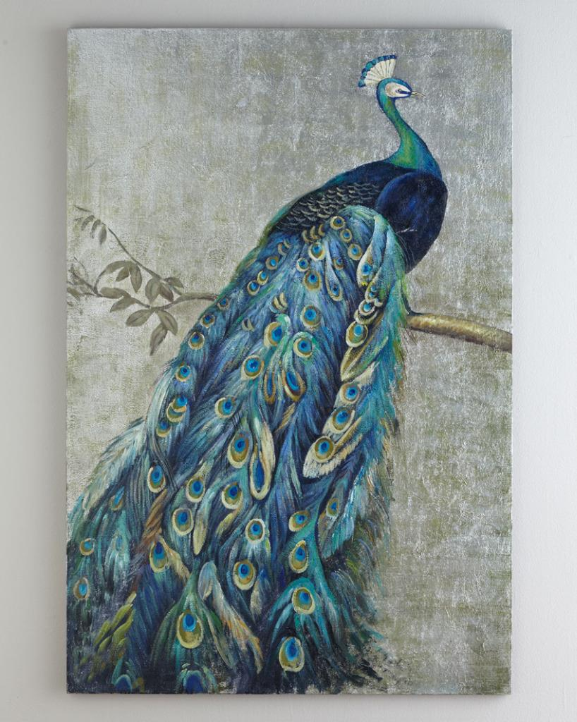 Framed handmade peacock oil painting with silver foil for Peacock wall art