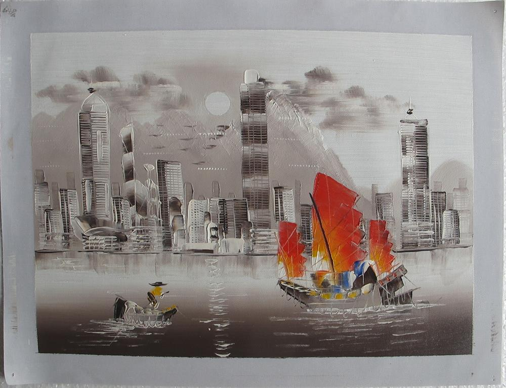 Wall Decoration Hk : Modern hong kong city oil painting on canvas for