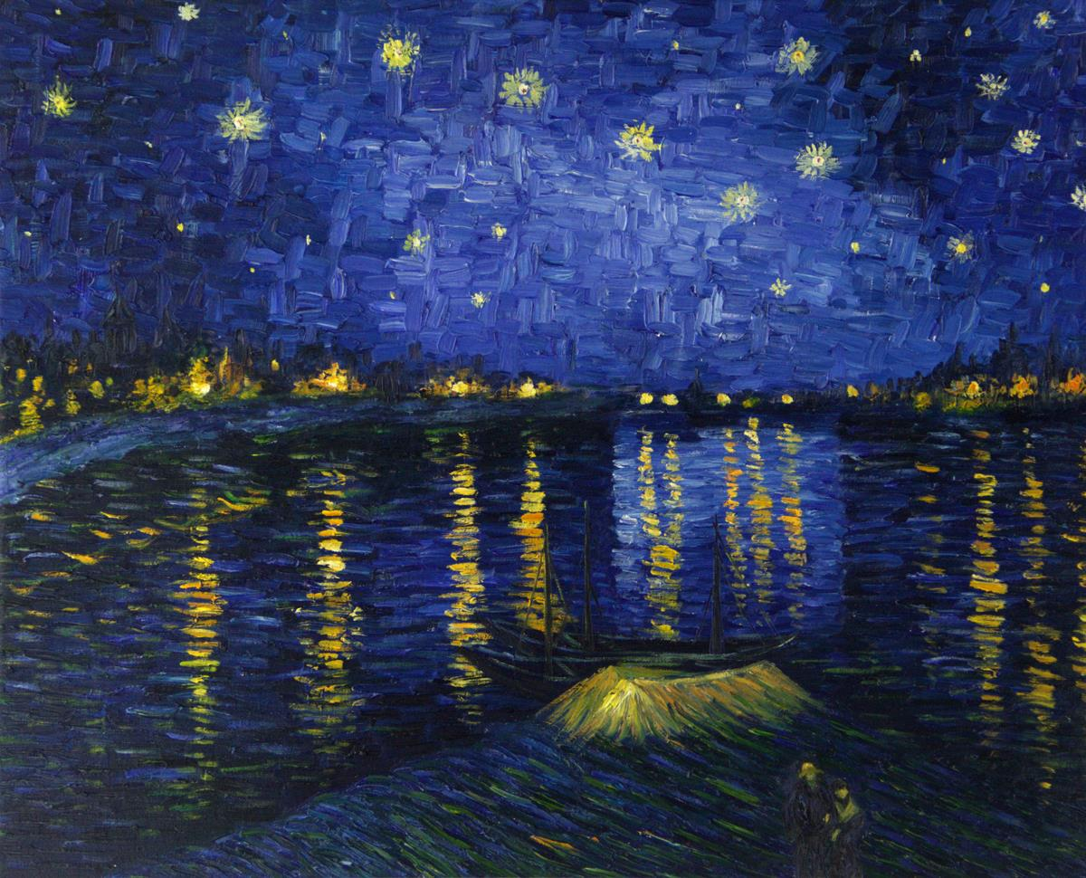 starry night over the rhone Starry night over the rhone is a culmination of the artistic genius of vincent van gogh (1853-1890) though lesser known than its later counterpart, the starry night, the night sky had been haunting van gogh ever since he moved to arles in february 1888 he moved in order to satiate his yearning to experience the.