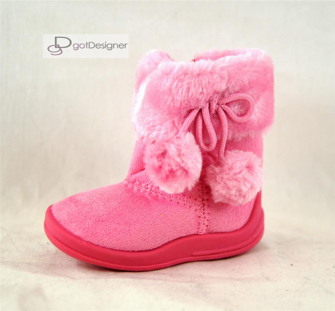 New Baby Girls Shoes Boots Suede Comfort Faux Fur Line