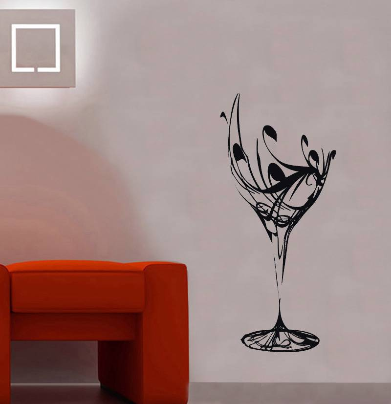Wine glass decal vinyl wall sticker art home decor stencil for Silhouette wall art