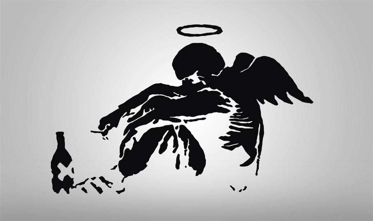 Banksy drunken angel decal wall sticker art home decor for Stencil wall art