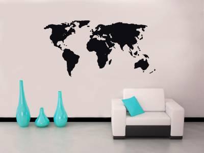 WORLD MAP Decal WALL STICKER Art Home Decor Vinyl Stencil Silhouette SST006