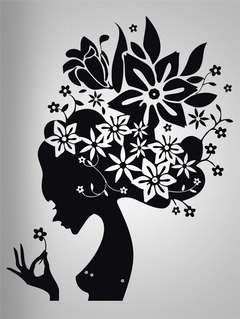 Flower Hair Girl Decal Wall Sticker Art Home Decor Stencil