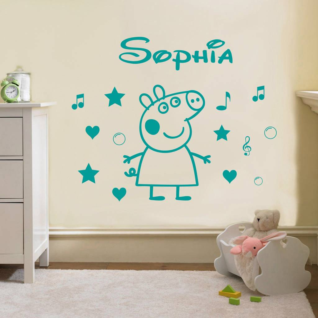 Peppa pig personalized decal wall sticker art home decor for George pig bedroom ideas