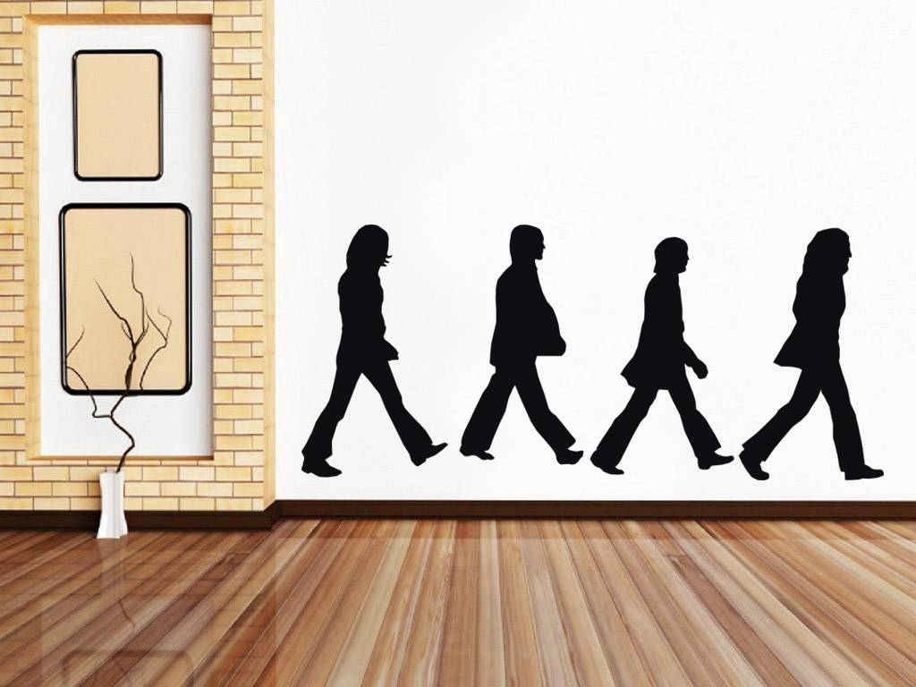 The beatles abbey road decal wall sticker art home decor for Abbey road wall mural