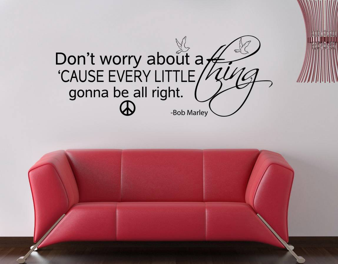 Bob marley don39t worry about a thing quote decal wall for Inspiratinal bob marley wall decals