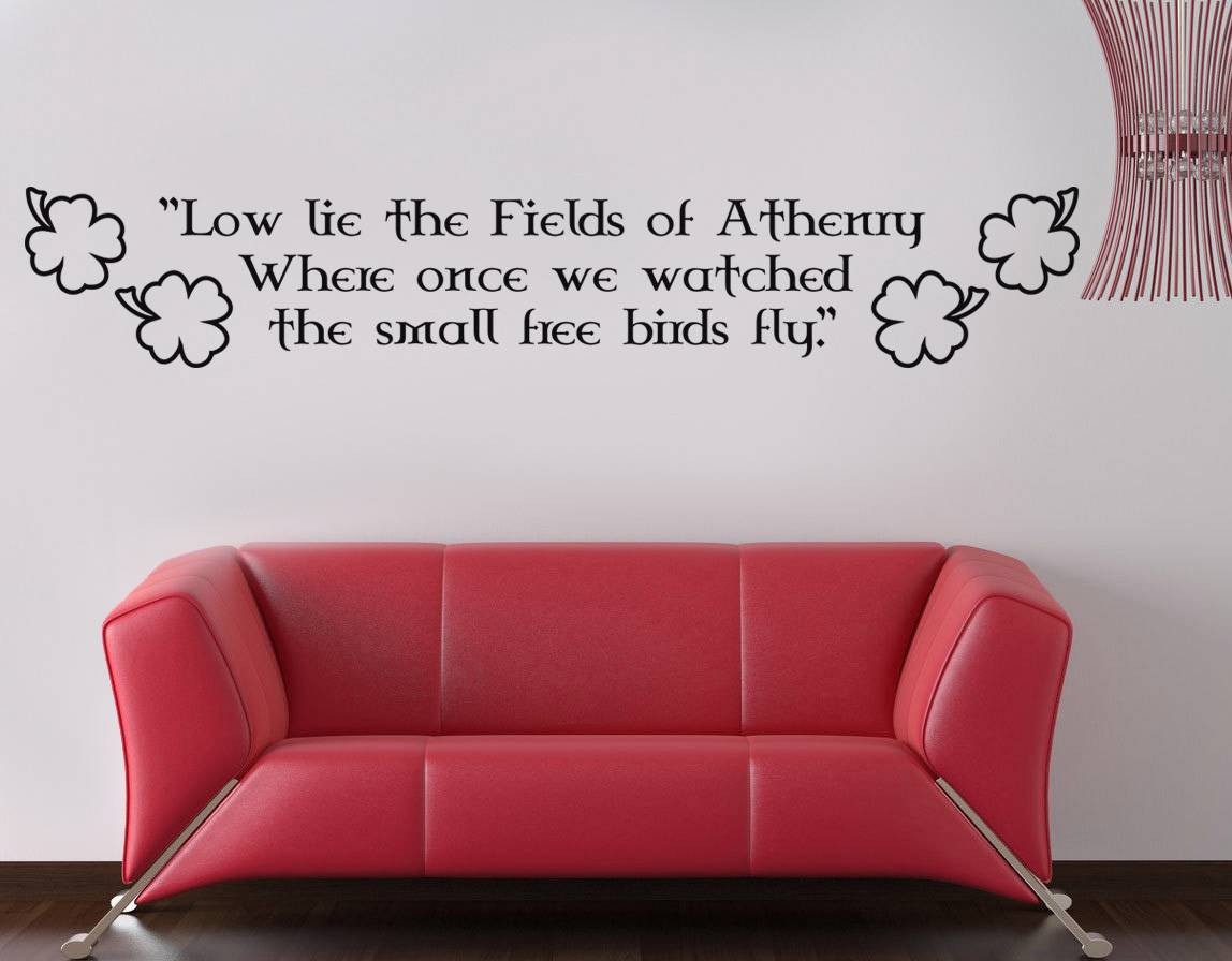 Wall Art Quotes For Pubs : Fields of athenry quote decal wall sticker decor art irish
